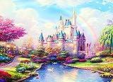 SUNKOO DIY 5D Diamond Painting Kits Castle Full Drill Rainbow Paint by Diamonds for Adults Rhinestone Diamond Art Kit,Rainbow Castle 14x18 inches