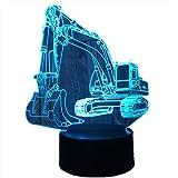 Bunt Lava-Lampe Nachtlicht-Illusion Des Baggers 3D Führte Tisch-Lam 7 Farben Usb-Form-Schreibtisch-Nachttischlampe Deco-Lampen Für Kindergeschenkgröße: 16X20Cm