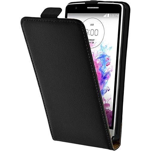 PhoneNatic Kunst-Lederhülle kompatibel mit LG G3 S - Flip-Hülle schwarz + 2 Schutzfolien
