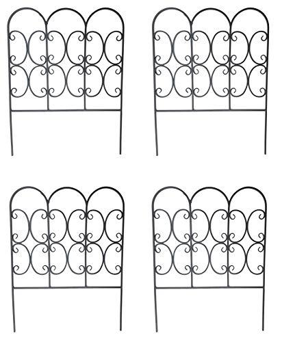 Pack of 4 x Large Heavy Duty 80cm high Scrolled Metal Garden Border Edging Fence- Decorative Ornamental Lawn Fencing Edge