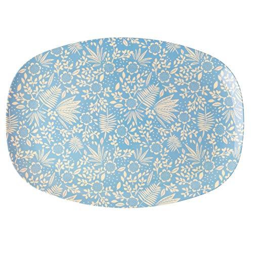 Rice Melamin Servierplatte Tablett Camping Bruchfest mit Blauem Blumenmuster