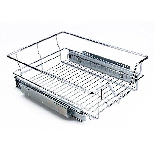 GOTOTOP 35/40/50/60cm Cestello Estraibile,Organizzatore per Armadio Scorrevole da Cucina,con Guide Scorrevoli,in Acciaio Inossidabile Cromato,Max. 20 kg (40cm)