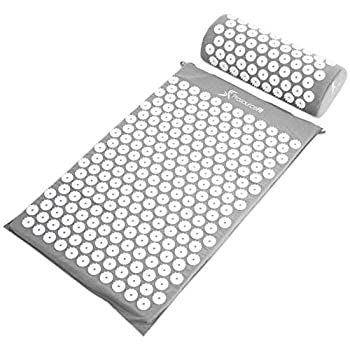 ProsourceFit Ki Acupressure Mat and Pillow Set with 100% Natural Linen for Back/Neck Pain Relief and Muscle Relaxation