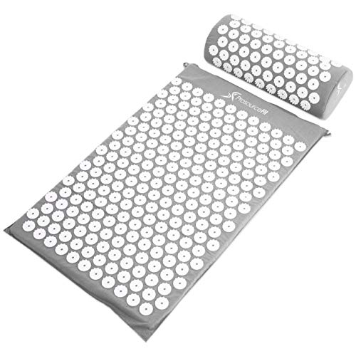 ProsourceFit Acupressure Mat and Pillow Set for Back/Neck Pain Relief and Muscle Relaxation, Grey