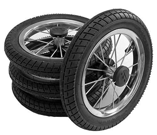 4 x Kinderwagen Rad 12 1/2 Zoll, 62-203 mit Metallspeichen, kugelgelagert