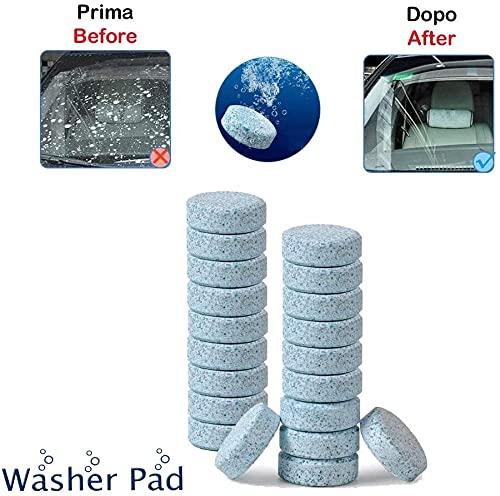 1neiSmartech 40 Pezzi160 Litri Detergente Liquido Lavavetri in Pastiglie Effervescenti per Pulizia dei Vetri e del Parabrezza Auto Multiuso per la Casai (Confezione da 40 Pezzi=160 Litri)