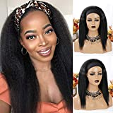 Nnzes Kinky Straight Headband Wigs for Women Yaki Straight Headband Wigs 14 Inch Natural Black Kinky Straight Synthetic Hair Glueless None Lace Front Machine Made Wigs with Headband