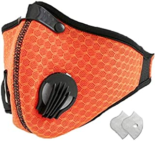 Jinlan 1with Filter,Sports Face, 2Filters Included,Men's and Women's Universal,Suitable for Woodworking, Outdoor Activities(Orange)