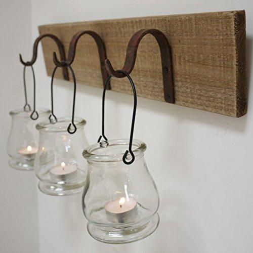 Best Value Here Wall Mount Rustic Wooden 3 Glass Tea Light Holders Rust Metal Hanging Hooks Tealight Lantern Candle