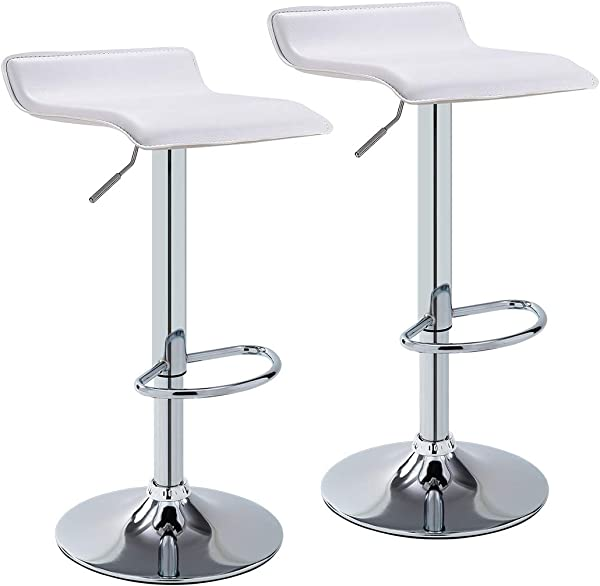 Duhome Set Of 2 Bar Stools Modern Contemporary Adjustable With Leather Seat Bar Chairs White