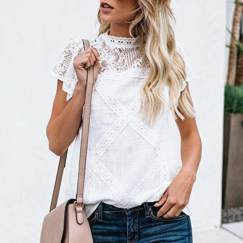 Camisetas Mujer SHOBDW Dia de la Mujer Verano Patchwork De Encaje Casual Ahuecar Volantes Manga Corta Suéter De Cuello De Tortuga Linda Blusa Floral Camiseta Blanca para Mujer (5XL, A-Blanco)