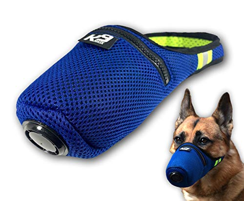 K9 Mask Air Filter Mask for Dogs with 'Extreme Breathe' PM2.5 Premium Air Filter Refills - Blue (Small)