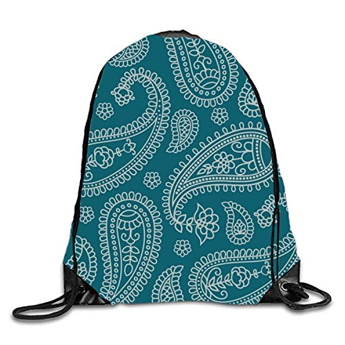 Lawenp Blue Flora Dots Sackpack Mochila con cordón Mochila Impermeable Gymsack Daypack para Hombres Mujeres