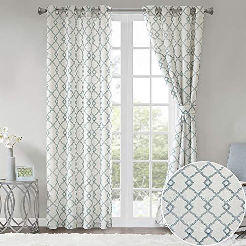 "Comfort Spaces Bridget Faux Linen Fretwork Window Curtain Embroidery Design Grommet Top Panel Pair with Tie Backs, 50""x95"", Aqua"
