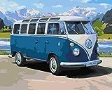 FGHJSF Pintar por numeros Bus Azul DIY Pintura por números con Pinceles y Pinturas Decoraciones para el Hogar para Adultos Niños Principiantes Pintar - 40X50 cm (Sin Marco)