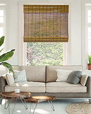 """CHICOLOGY Cordless Bamboo Roman Shades, Light Filtering Window Treatment Perfect Resort Feel for Living Dining Room/Bedroom and More, 27"""" W X 64"""" H, Fox"""