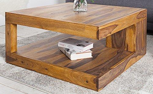 DuNord Design Couchtisch massiv Palisander Massivholz Tisch Natur Sofatisch 80cm x 80cm