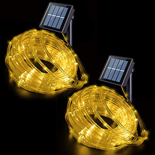 Solar Rope Lights Outdoor Waterproof LED, 2 Pack 33ft 100 LED Solar Rope String Lights Warm White, PVC Tube Fairy Lights for for Garden Yard Fence Party Walkway Path