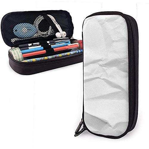 Federmäppchen Weiß Zerknittertes Papier PU Leder Beutel Aufbewahrungsbeutel Tragbare Bleistiftbeutel Reißverschluss Geldbörsen