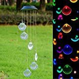 BALANSOHO Solar Mobile Wind Chimes 6 Shells Color-Changing Waterproof LED Hanging Lamp Night Lights for Outdoor Gardening Home Decoration