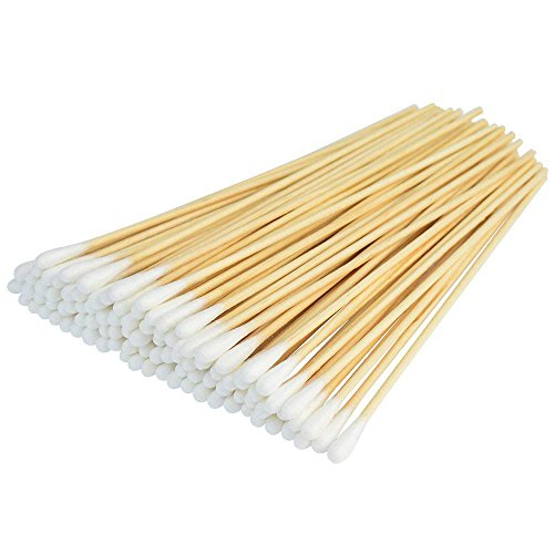500 Pcs Swabs Cotton Sticks, Bantoye 6 Inches Cleaning Sterile Sticks with Wooden Handle for Wound Clean, Cleaning Makeup, Removal Residue