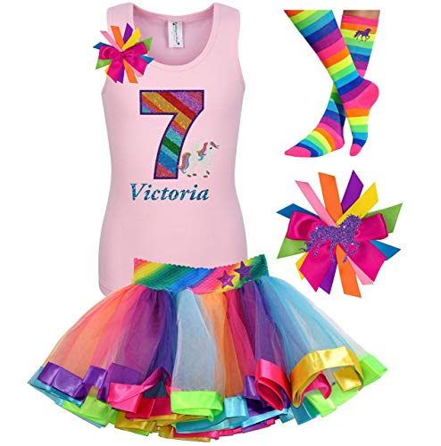 7th Birthday Unicorn Shirt Rainbow Outfit 4PC Gift Set Socks Hair Bow Personalized Name Age 7