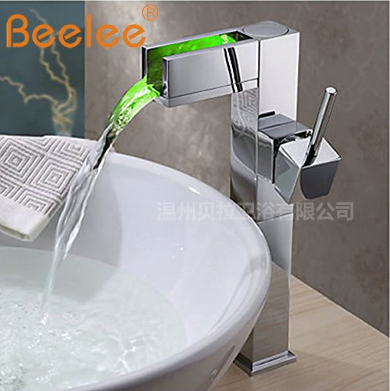 Lpophy Bathroom Sink Mixer Taps Faucet Bath Waterfall Cold and Hot Water Tap for Washroom Bathroom and Kitchen The Copper Led Falls High, Single Hole Hot and Cold B