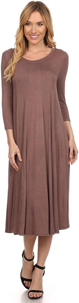 Women's Plus & Regular Size Loose 3/4 Sleeve Midi Maxi Dress Made in USA
