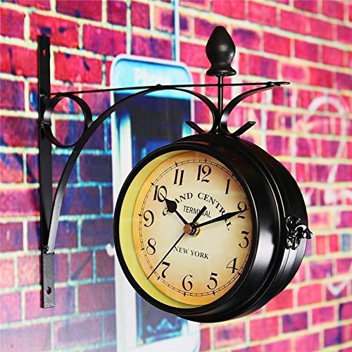 LZZR - Reloj de pared redondo de doble cara para jardín, estilo retro, decoración del hogar, marco de metal + cubierta de cristal
