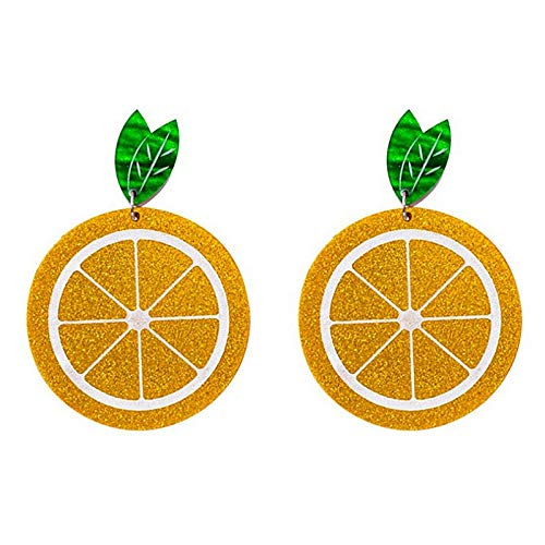 ZSCZQ Lustige Pitaya Orange Acryl Tropfen Ohrringe für Frauen Kreative Frucht Glitter Pulver Long Dangle Ohrringe Modeschmuck Geschenke 2-