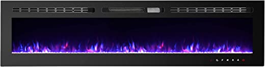CharaVector Electric Fireplaces Recessed Wall Mounted Fireplace Insert 70 Inch Wide Heater LED Fire Place Remote Control & Touch Screen