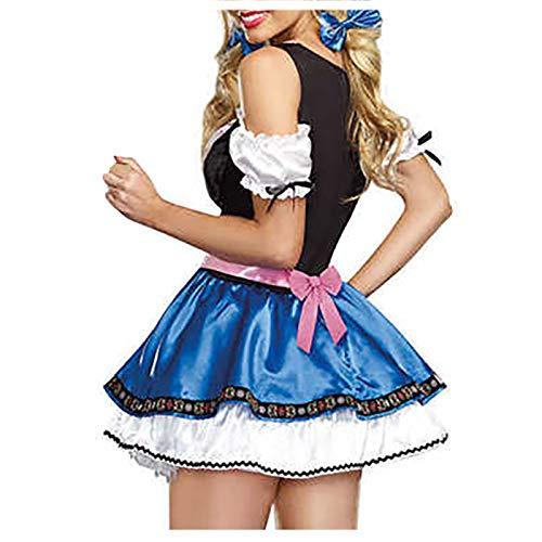 Damen Sexy Minirock Schlafanzug Naughty Cute Dienstmädchen-Kostüm Kleid Cosplay Kostüm Abendkleid Lolita gotische Spitze Lace Pyjama V-Ausschnitt Temptation Maid Nachthemd Costume Nachtwäsche