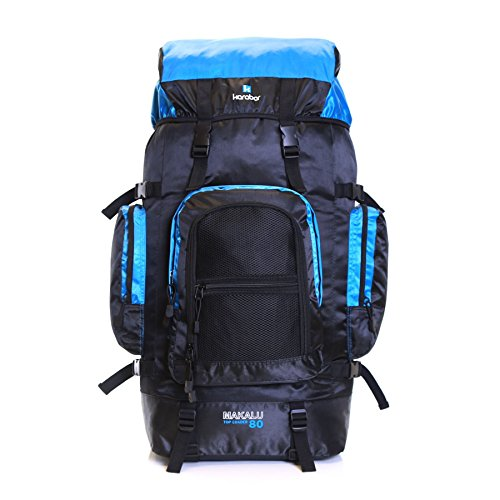 Karabar Extra Large Travel Hiking Backpack Rucksack Bag XL 80 litres 77 cm 1.3 kg, Makalu Black & Light Blue