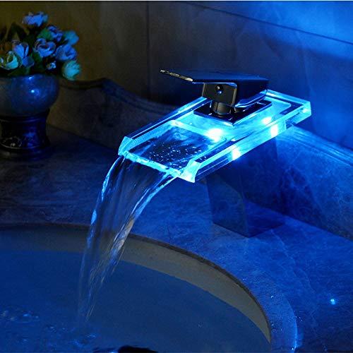 Grifo Grifo (Agua); Grifo; Bibcock LED Cascada Agua Caliente y fría sobre el Lavabo de Contador con Control de la Temperatura Que Cambia el Color Luminoso Lavabo de Lavabo de Lavabo de Lavabo de Agua