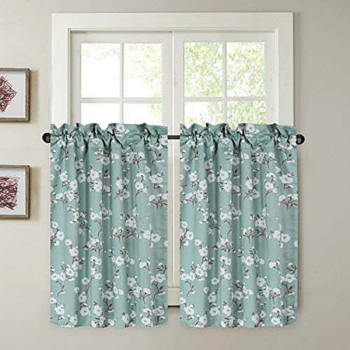 "H.VERSAILTEX Blackout Energy Saving Ultra Soft Casual Kitchen Curtains, Rod Pocket Window Curtain Tiers for Café, Bath, Laundry, Bedroom - Aqua Floral Pattern - (58"" W x 45"" L Pair)"