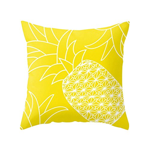 Funda de cojín amarillo para decorar con piña