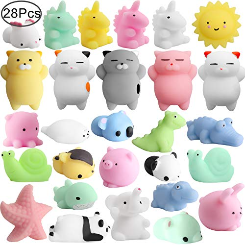 Outee Mochi Squishies Animals, 28 Pcs Squishies Stress Cat Mini Squishies Stress Relief Mini Sqeeze Toys Squishies Mini Cat Mochi Squishies Stress Toys Random