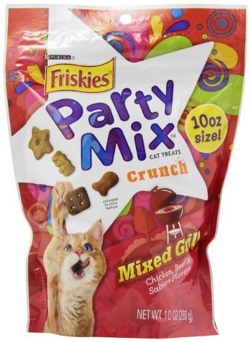 Friskies Treats Party Mix in Pouch, Mixed Grill Crunch with Chicken, Beef and Salmon Flavors, 10-Ounce, pack of 4by Purina Friskies Party Mix (English Manual)