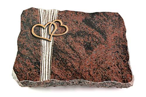 Wilhelmy Grabmale Grabplatte, Grabstein, Grabkissen, Urnengrabstein, Liegegrabstein Modell Strikt 40 x 30 x 5 cm Aruba-Granit, poliert inkl. Gravur (Bronze-Ornament Herzen)