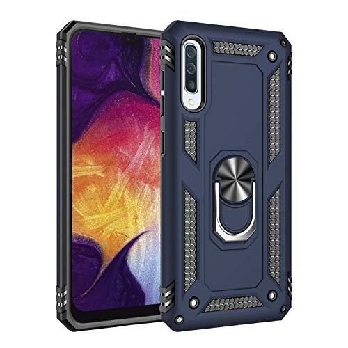 JMGoodstore Funda Compatible con Samsung Galaxy A40 [Robusto] 360°Anillo Metálico Soporte [Funciona con El Montaje De Coche Magnético] 2in1 Dura Bumper Case+Protectores de Pantalla (Azul)