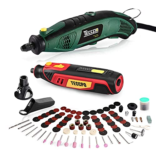 TECCPO Rotary Tool Kit 1.5 amp, 6 Variable Speed with Flex Shaft, Universal Keyless Chuck, 84 Accessories + 4V Mini Rotary Tool Kit, Cordless Rotary Tool, Easy to Operate, Electric Rotary Tool Set
