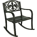 Sunnydaze Outdoor Rocking Chair - Durable Cast Iron Construction - Traditional Fleur-de-Lis Design - Outside Front Porch Furniture - Perfect Chair for Patio, Deck, Backyard or Garden