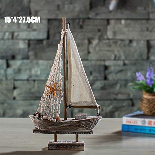 Neaer Adornos para el hogar, decoración mediterránea, diseño retro de vela, barcos de madera, para decoración de bar, cafetería, accesorios, regalo para niños, decoración del hogar (color: MA04027C)