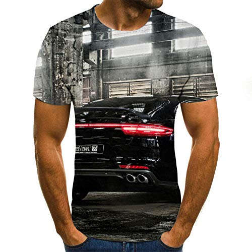 Mens Short Sleeved Shirts Casual Old Factory and Car T-Shirt Men 3DT Shirt Short Sleeve Round Neck Digital Printing Casual Short Sleeve-Color_4XL