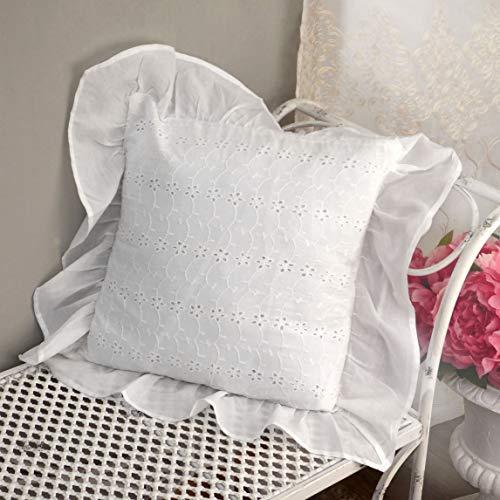 AT17 Kissen Zierkissen Bestickt, Dekokissen, Sofakissen, Sofa Bett Kissen Landhaus Shabby Chic - Rüsche Volant/Sangallo Spitze - 40x40 - Weiß