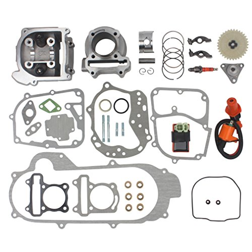 Wingsmoto 100cc Big Bore Kit for 69mm Valve GY6 49CC 50CC 139QMB Moped Scooter Engine 50mm Bore Upgrade Set with Racing CDI Ignition Coil Performance Spark Plug (69mm Valve Length)
