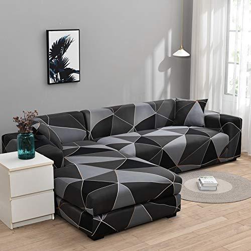 ASCV Floral Bedruckte elastische Sofabezug für Wohnzimmer Stuhlbezug Protector Kaufen Sie Zwei Separate Bezüge für das L-förmige Sofa A5 3-Sitzer