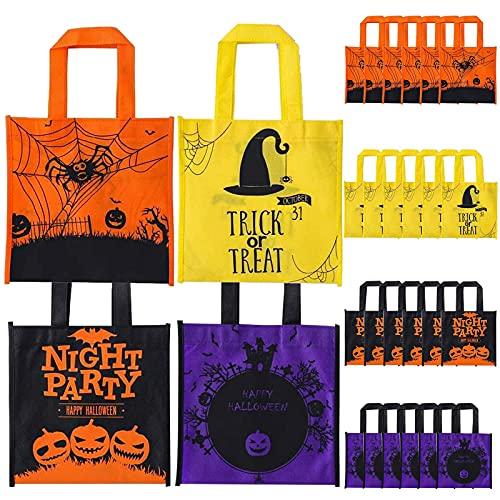 Herefun 24 Bolsas de Golosinas de Halloween, Halloween Truco o Golosinas Bolsas, Bolsas de Tela de Halloween para Niños Fiestas