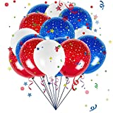 Party Balloons 12 inch Blue and Red and White Balloons 100 Pack Latex Balloons For Party Decor Home Decoration Blue Red and White Balloons