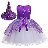 VAZON Girls Dress Cosplay Halloween Costume,Halloween Princess Dress Witch Cosplay for Halloween Cosplay Favors Purple